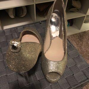 MK gold open toe stiletto pumps
